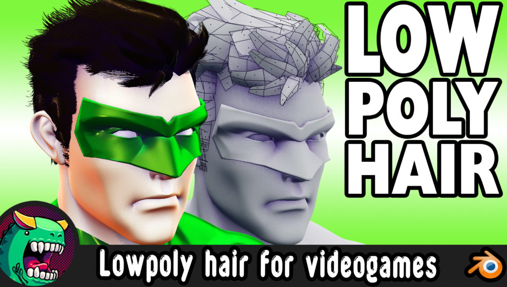 how made 3d lowpoly hair for videogames Blender