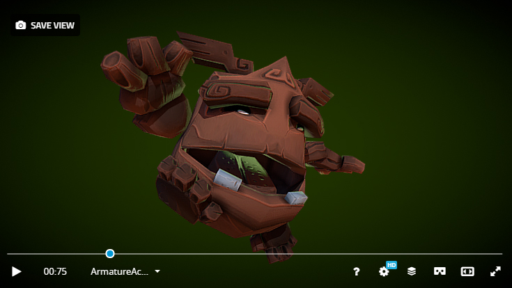 fantasy character golem design lowpoly videogame real-time