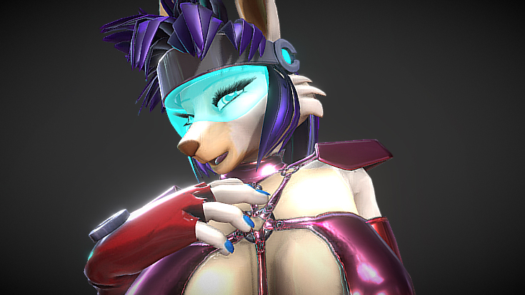sexy 3D lowpoly rabbit girl furry blender