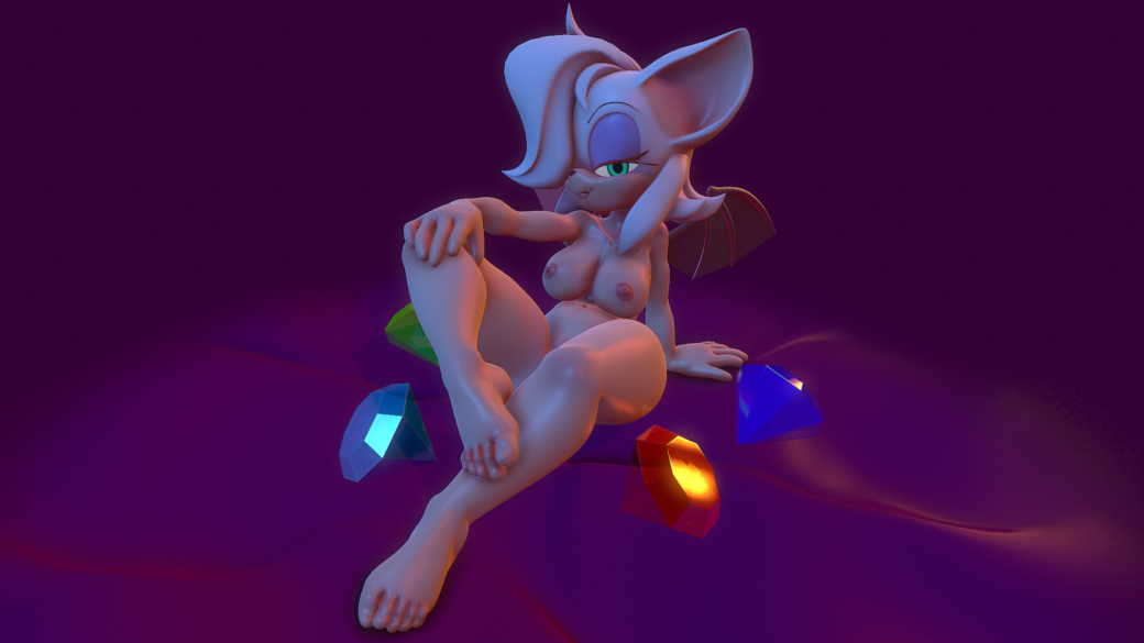 3D realtime art Sexy Rouge the Bat  NSFW