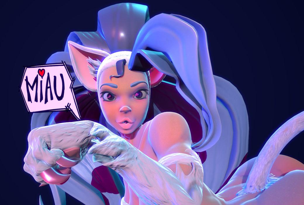 3D real-time nekomimi Felicia of Darkstalkers